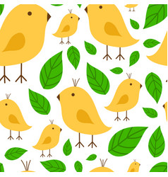 Seamless pattern vibrant branch with canary yellow vector