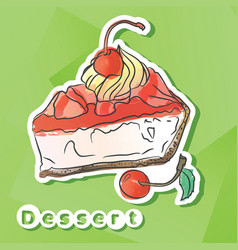 Sticker with cherry pie vector