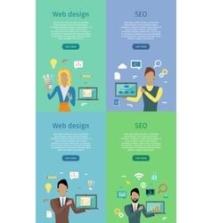 Web design seo conceptual banner posters set vector
