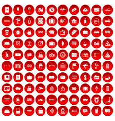 100 railway icons set red vector