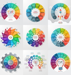 set of 9 circle infographic templates 12 options vector image
