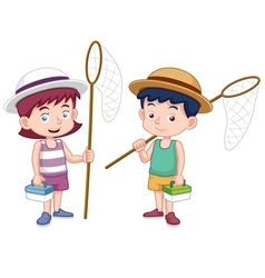 Boy and girl with insect net vector image