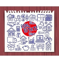 Doodle real estate icons set vector