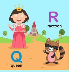 isolated alphabet letter q-queen r-raccoon vector image