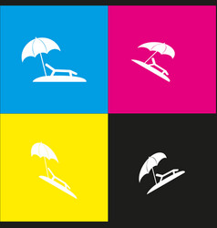 Tropical resort beach sunbed chair sign vector