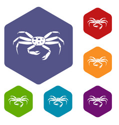 Crab seafood icons set hexagon vector