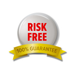 white round label with red text risk free vector image