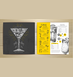 Vintage typography cocktail menu design vector