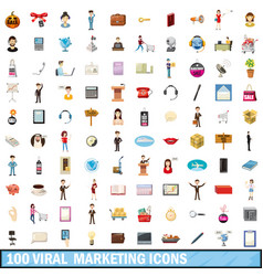 100 viral marketing icons set cartoon style vector