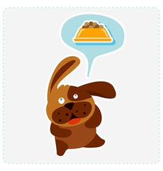 Cute cartoon dog is thinking food vector