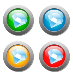 Diamond icon glass button set vector