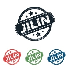 Round jilin city stamp set vector