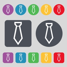 Tie icon sign a set of 12 colored buttons flat vector