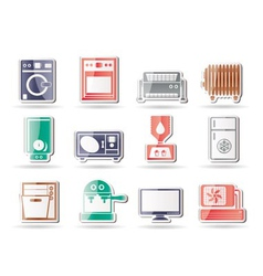 Home electronics and equipment icons vector
