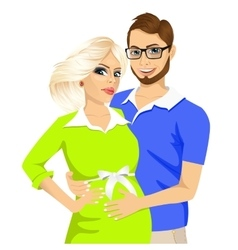 Husband touching the belly of his pregnant wife vector