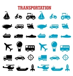 Black and blue flat transportation icons vector