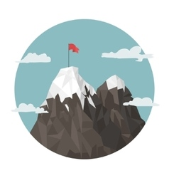 Red flag on a mountain peak success vector