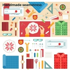 Tools for handmade seamstress hobby concept vector