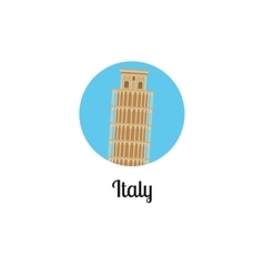 Italy tower landmark isolated round icon vector