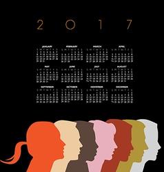 A creative new 2017 diversity calendar vector