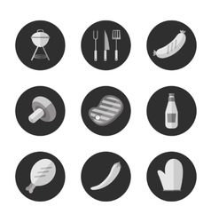 Barbecue grill black and white round icons set vector image