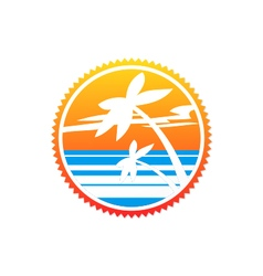 beach palm tree sunset logo vector image