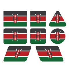 buttons with flag of Kenya vector image