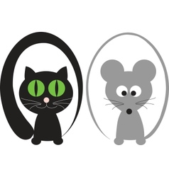 Cat and mouse vector