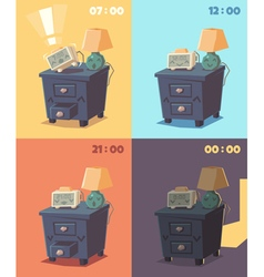 Cute alarm clock at different times of day vector image