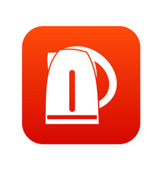 Electric kettle icon digital red vector