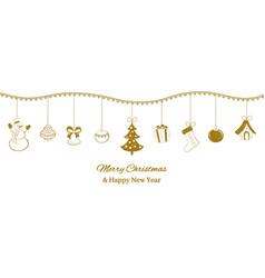 festive horizontal banner golden christmas vector image