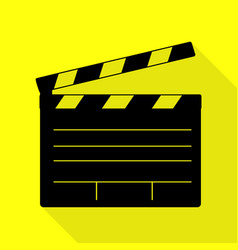 Film clap board cinema sign black icon with flat vector