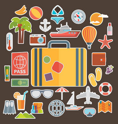 flat icons set of traveling on airplane planning vector image vector image