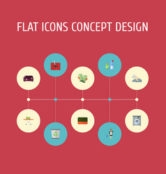 Flat icons towel laundromat means for cleaning vector