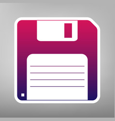 Floppy disk sign purple gradient icon on vector
