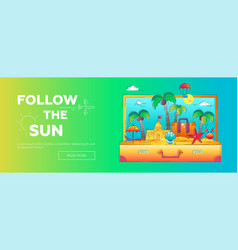 follow the sun - line travel banner vector image