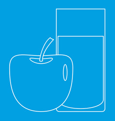 Glass and apple icon outline style vector
