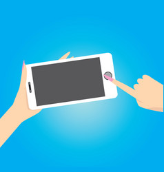 Hand holding white smart phone on blue background vector