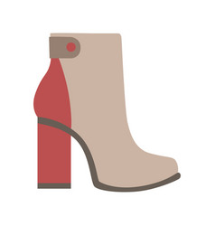 High sturdy heel red and grey female boot vector