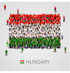 large group of people in the shape of hungary flag vector image