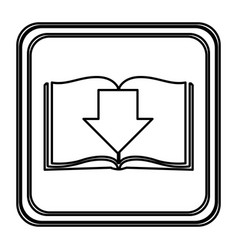 monochrome contour with button icon of book with vector image