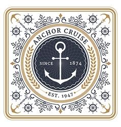 Nautical anchor cruise retro card vector