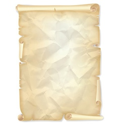 Old crumpled scroll of yellowed paper vector