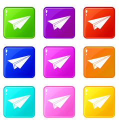 Paper airplane set 9 vector
