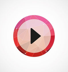 play circle pink triangle background icon vector image vector image