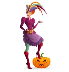 Redhead woman in purple pirate halloween costume vector