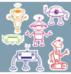 Robot stickers vector image