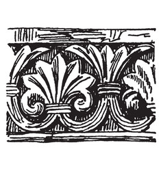 Romanesque motive pointed arches vintage engraving vector