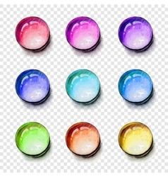 Round shape gems colorful set with transparent vector image