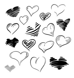 set of flourish doodle calligraphy vintage hearts vector image